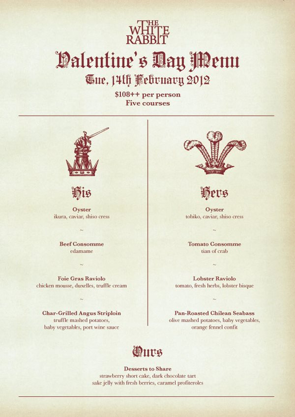 white rabbit valentine menu