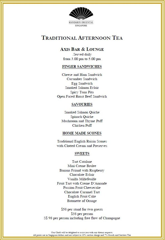 The Tea Room Menu
