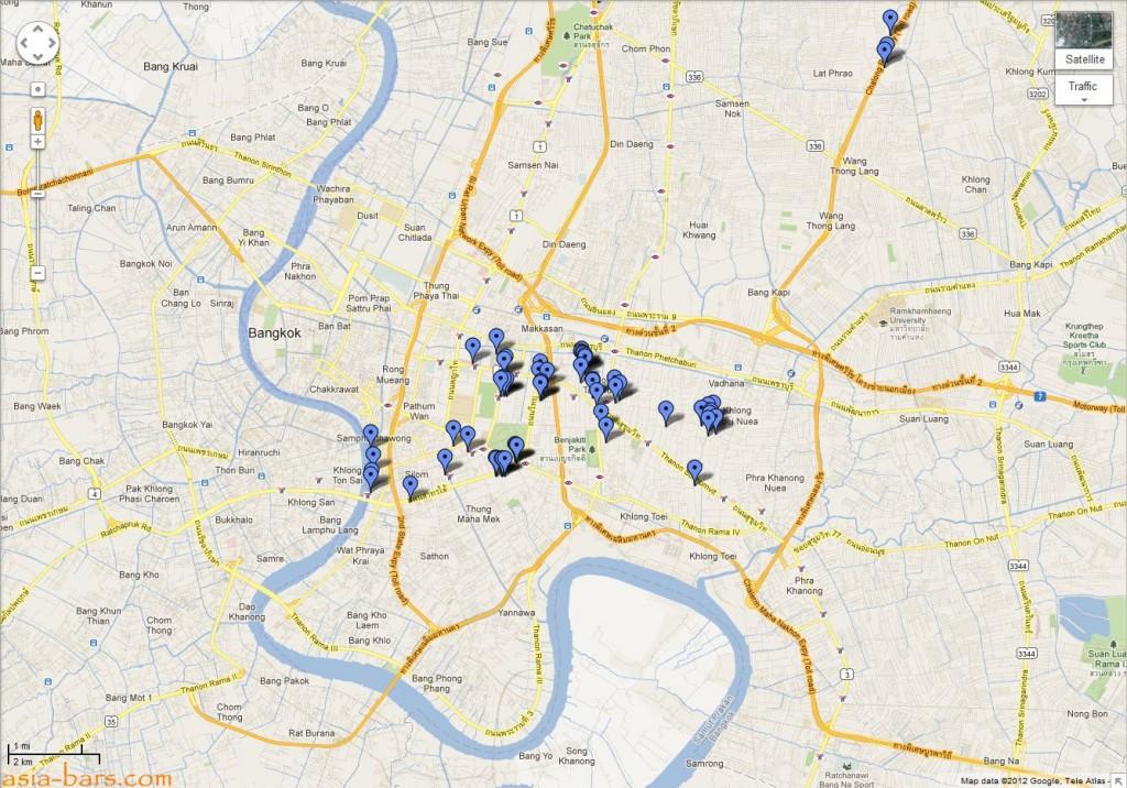Bangkok bars & restaurants Google Map