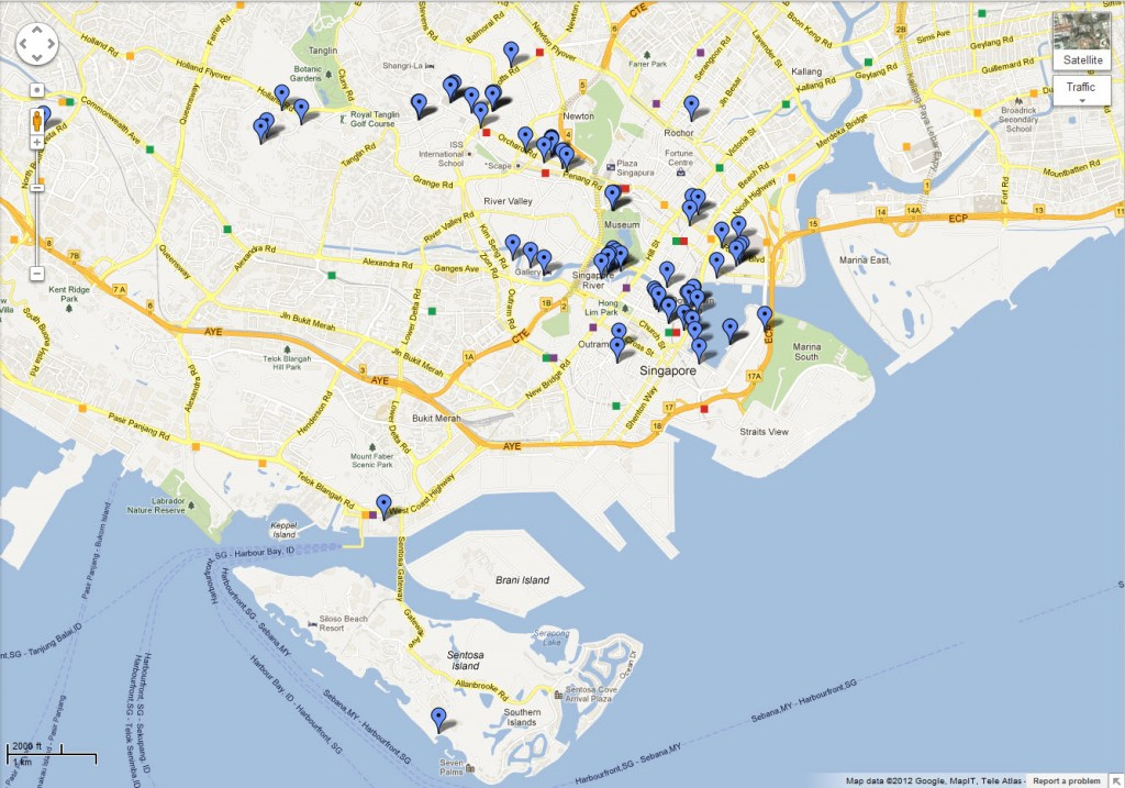 Singapore Bars & Restaurants Google Map