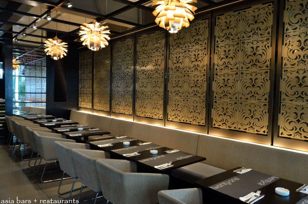 The restaurant dining room on the ground floor is a