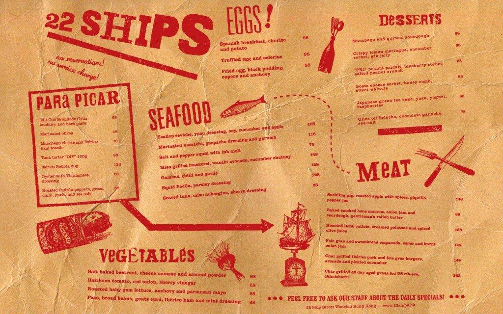 22 Ships placemat menu