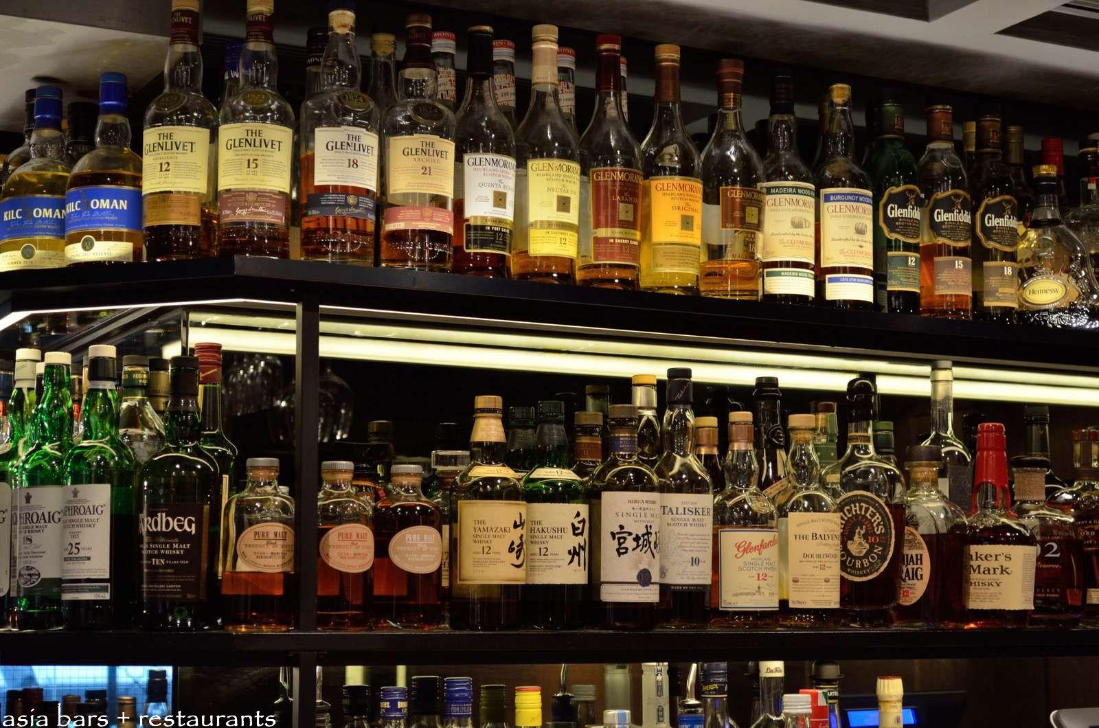 Angel s share whisky bar restaurant in hong kong asia for Bar showcase for home