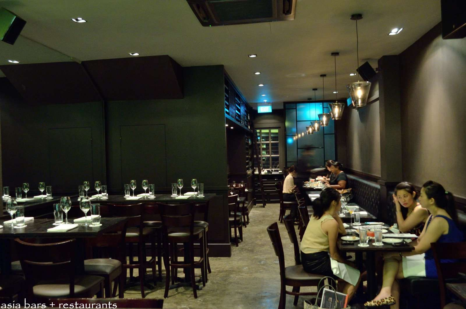 The intimate main dining room has seating for around 45 guests at