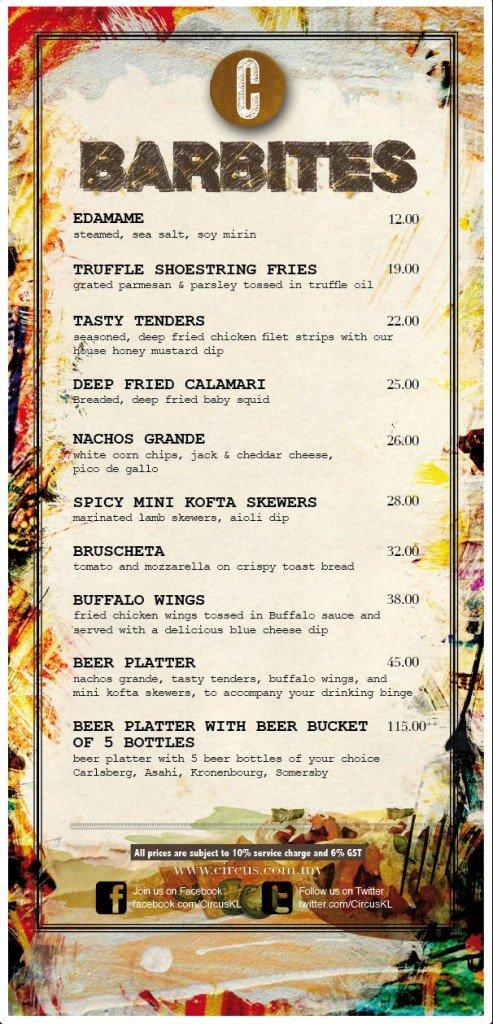 circus KL- bar bites menu