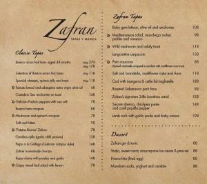 zafran tapas menu