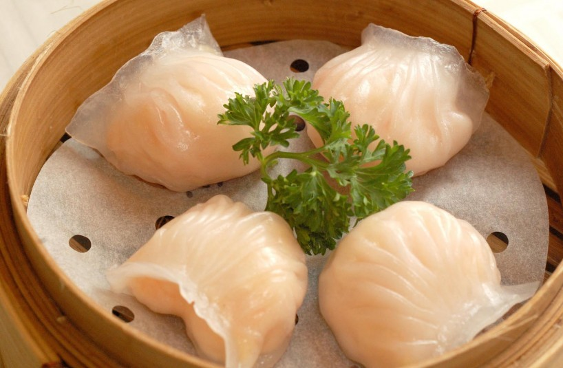 Steamed Crystal Prawn Dumplings with Bamboo Shoots