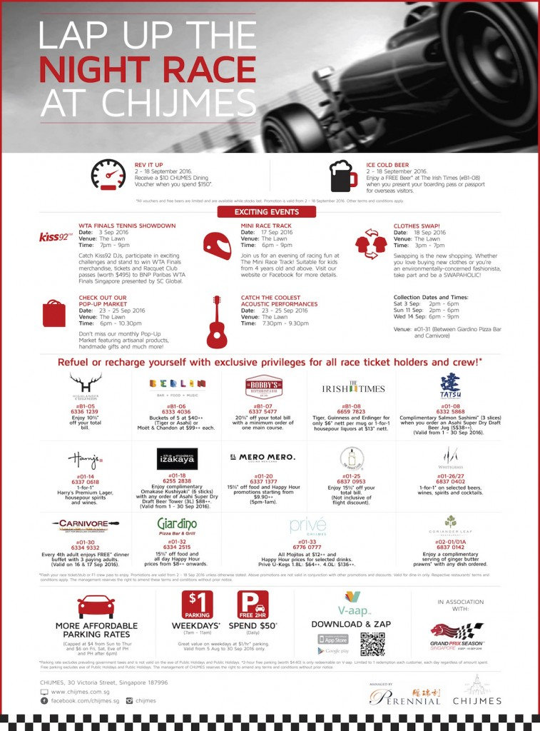chijmes F1 race week promotions